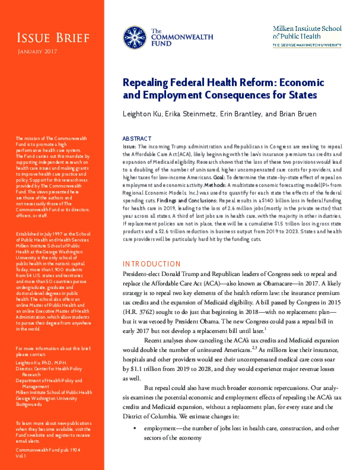 Repealing Federal Health Reform: Economic and Employment Consequences for States