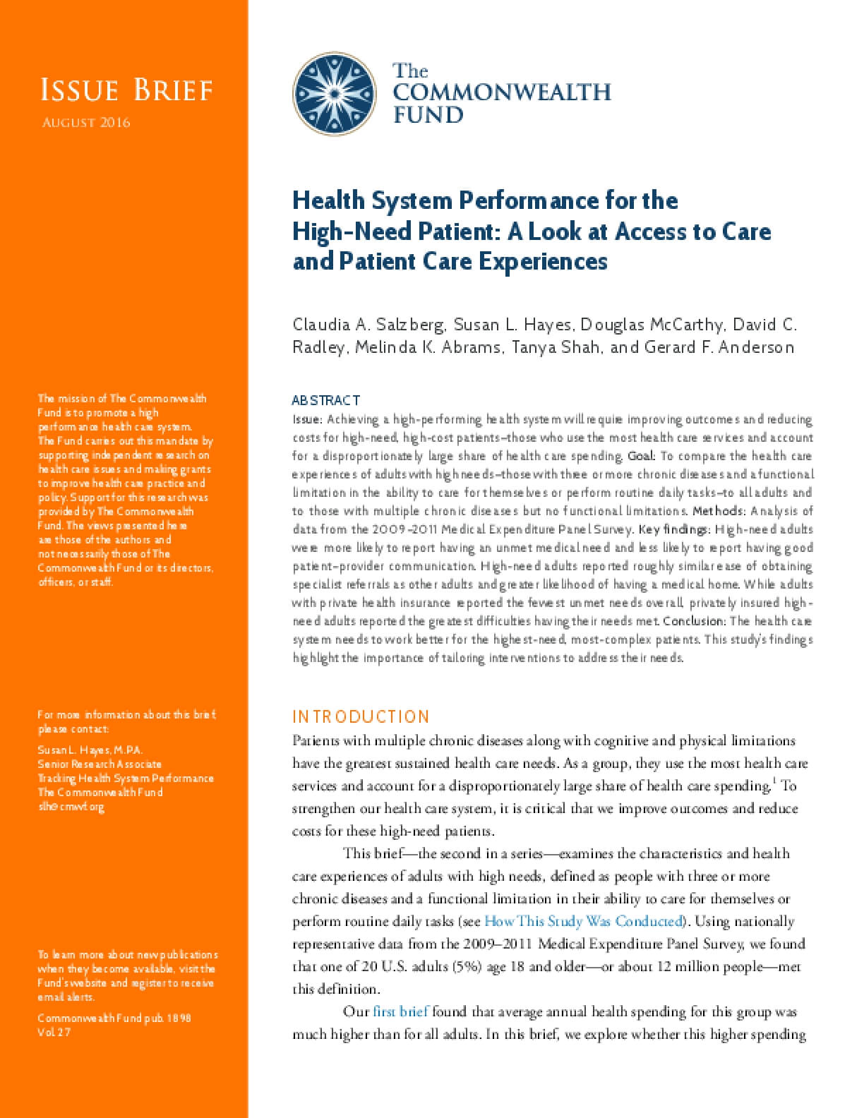Health System Performance for the High-Need Patient: A Look at Access to Care and Patient Care Experiences