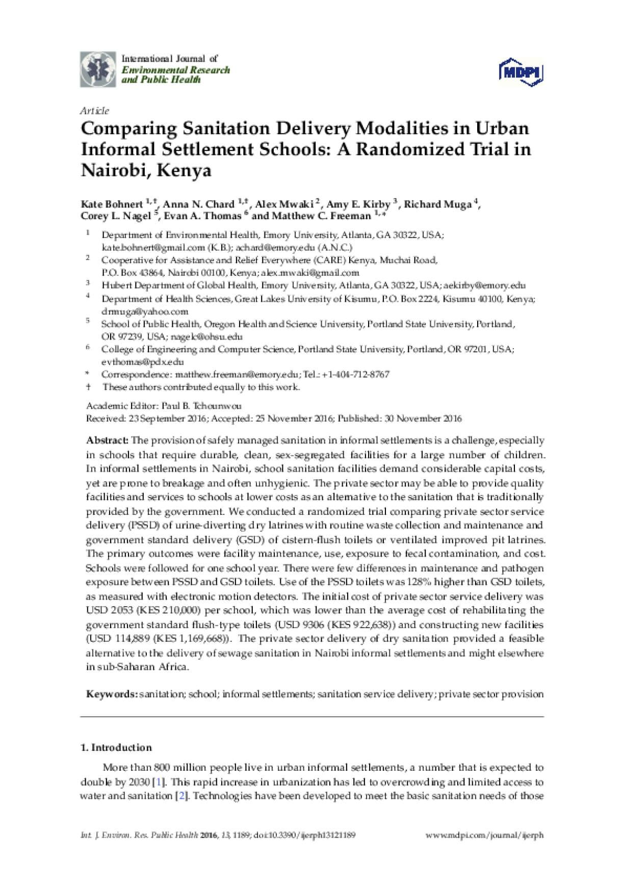 Comparing Sanitation Delivery Modalities in Urban Informal Settlement Schools: A Randomized Trial in Nairobi, Kenya