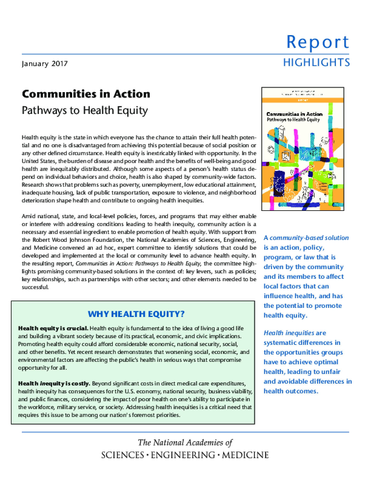 Communities in Action: Pathways to Health Equity