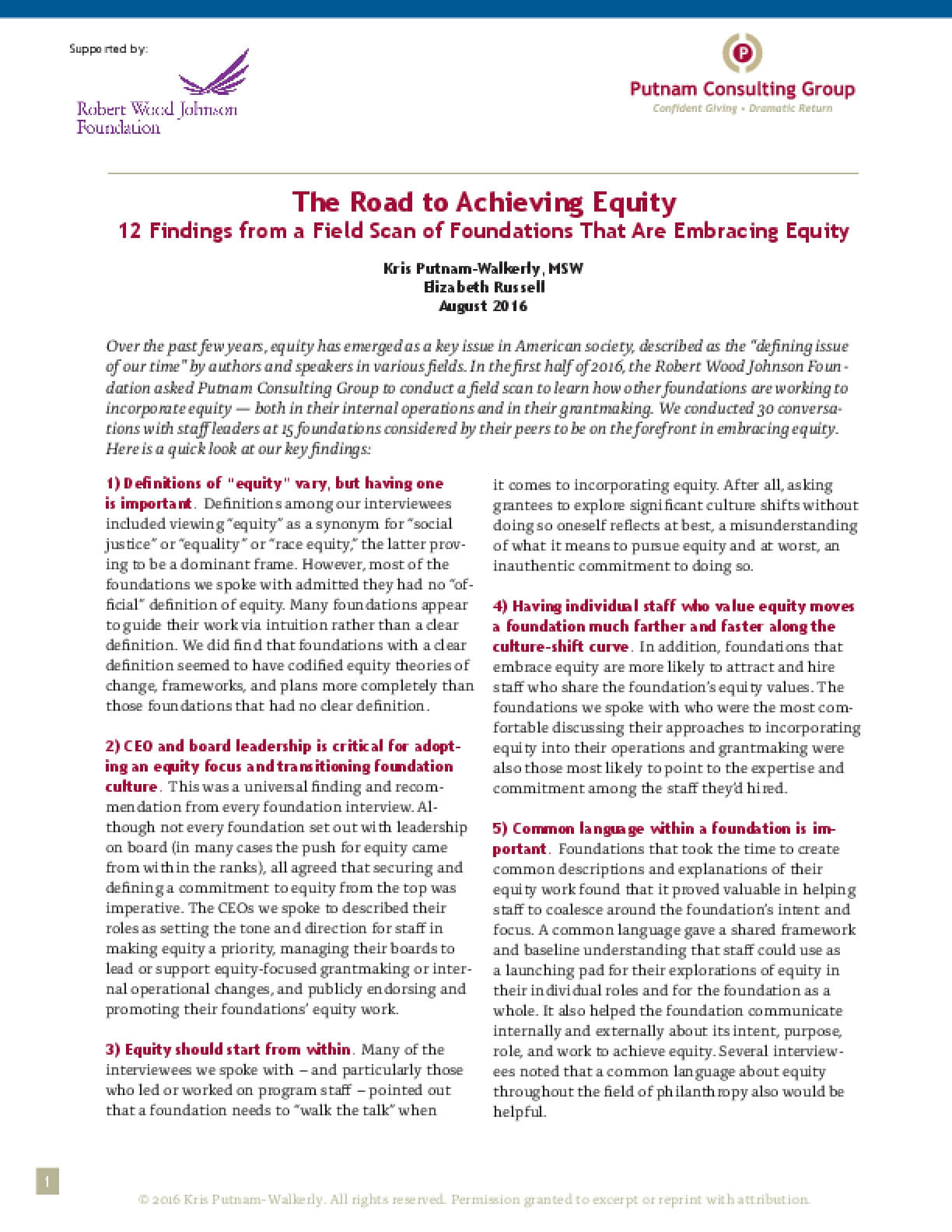 The Road to Achieving Equity 12 Findings from a Field Scan of Foundations That Are Embracing Equity