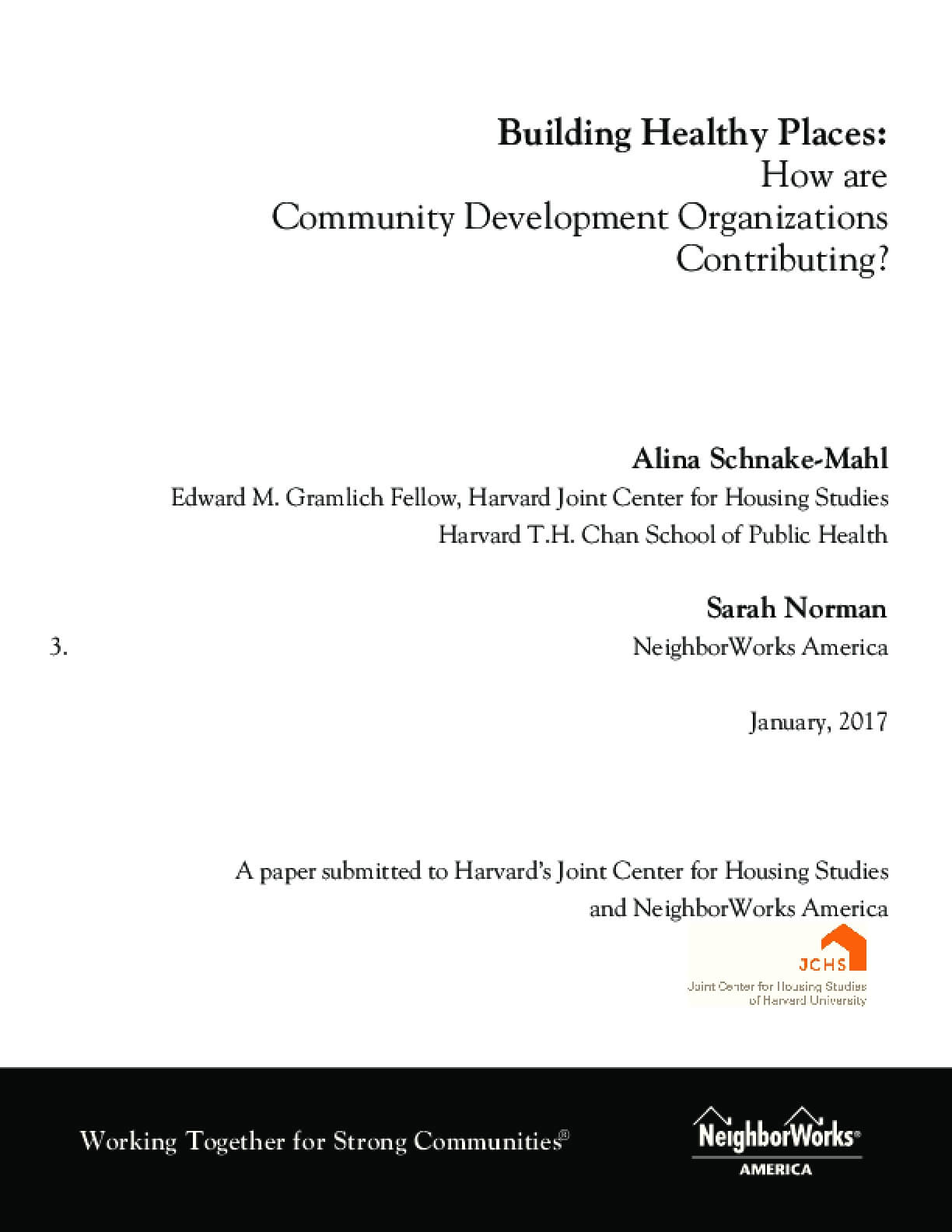 Building Healthy Places: How are Community Development Organizations Contributing?