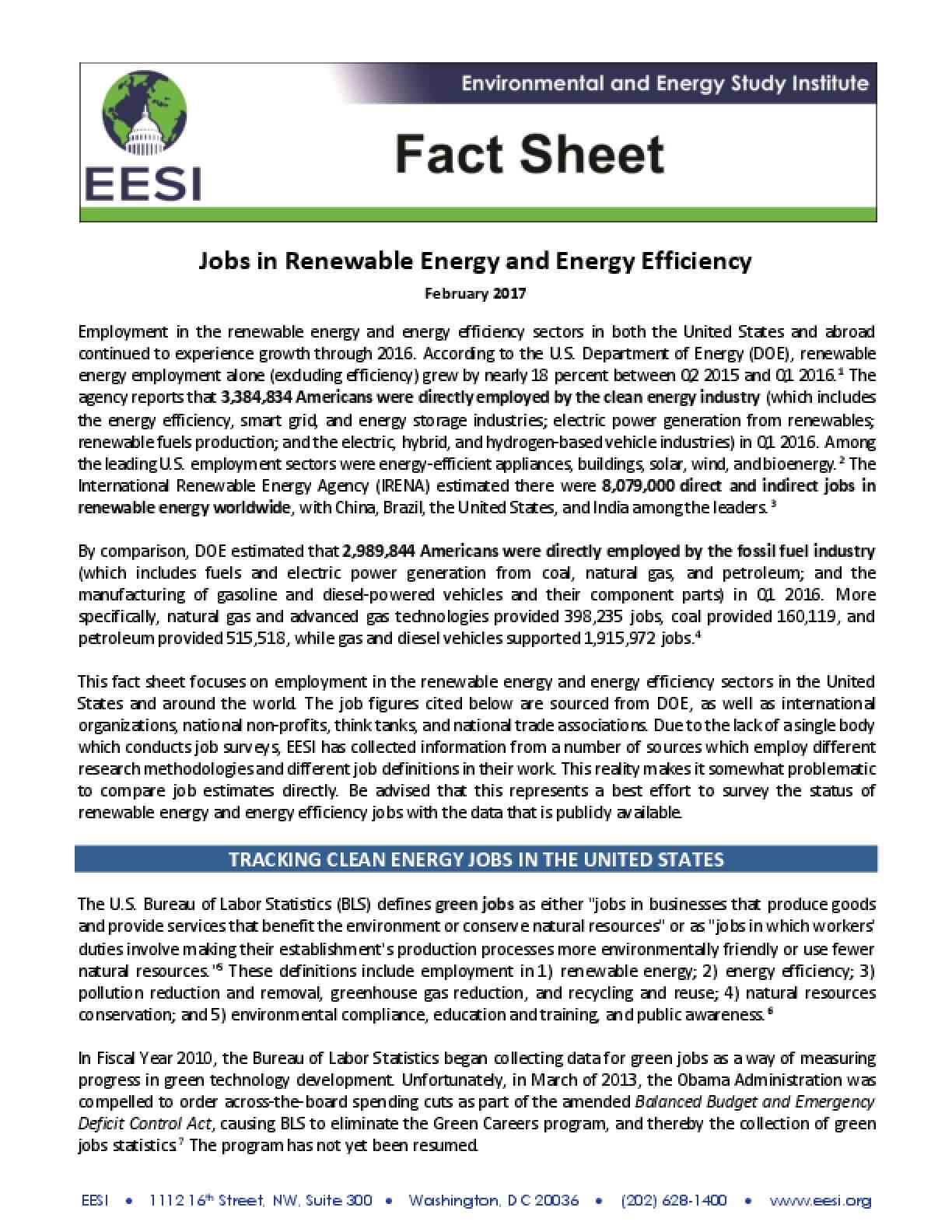 Fact Sheet: Jobs in Renewable Energy and Energy Efficiency (2017)