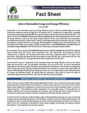 Fact Sheet: Jobs in Renewable Energy and Energy Efficiency (2017)