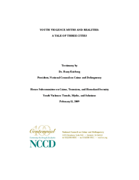 Testimony - Youth Violence Myths and Realities: A Tale of Three Cities
