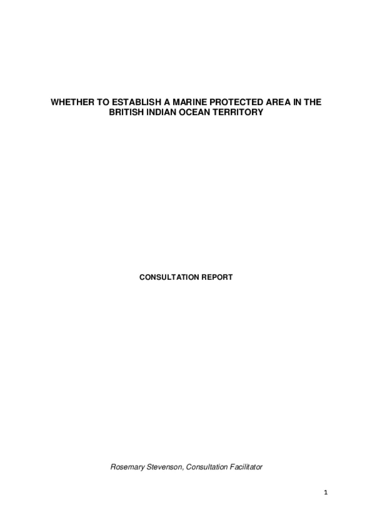 The Consultation Report