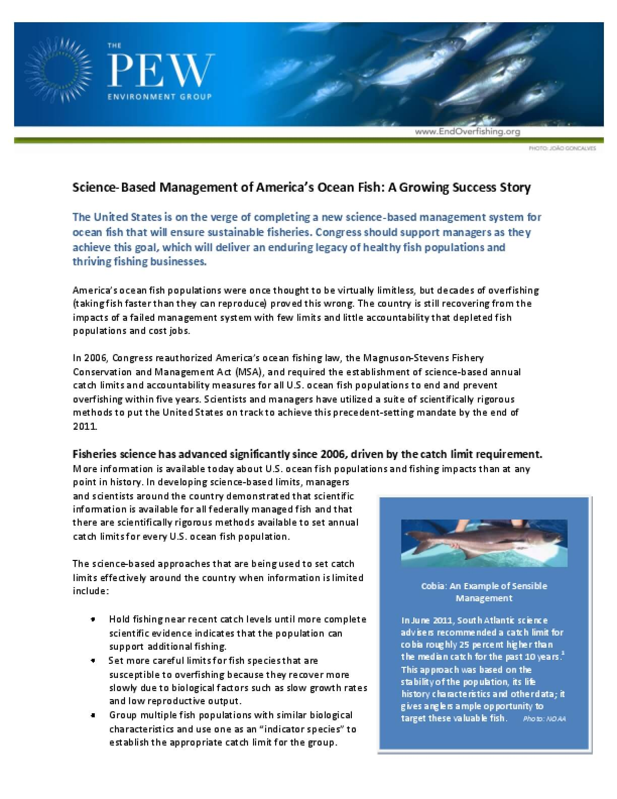 Science-Based Management of America's Ocean Fish: A Growing Success Story