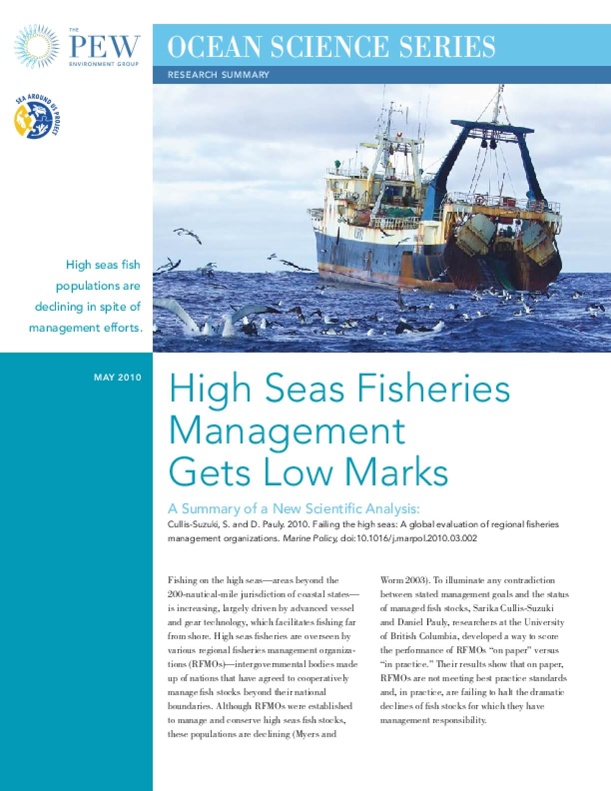 High Seas Fisheries Management Gets Low Marks