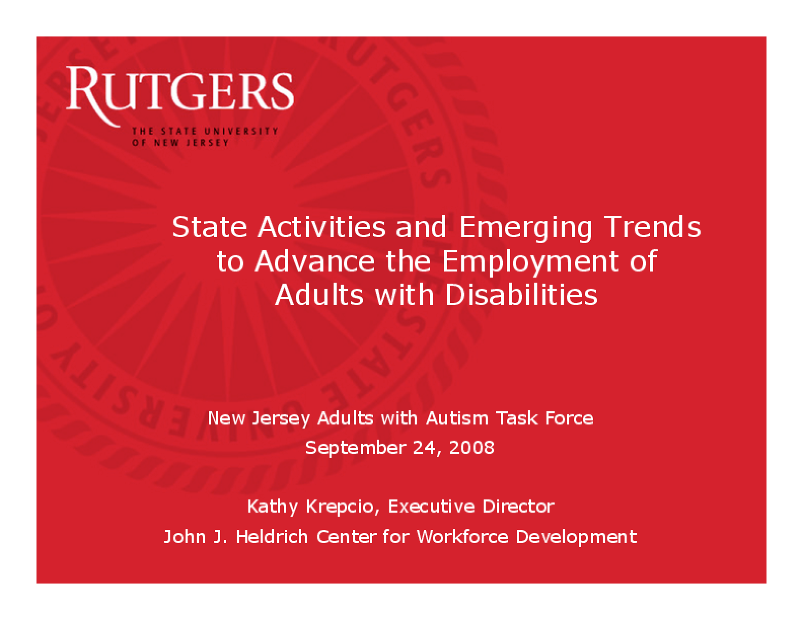 State Activities and Emerging Trends to Advance the Employment of Adults with Disabilities