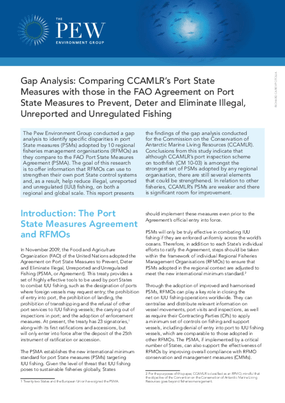 Gap Analysis: Comparing CCAMLR's Port State Measures