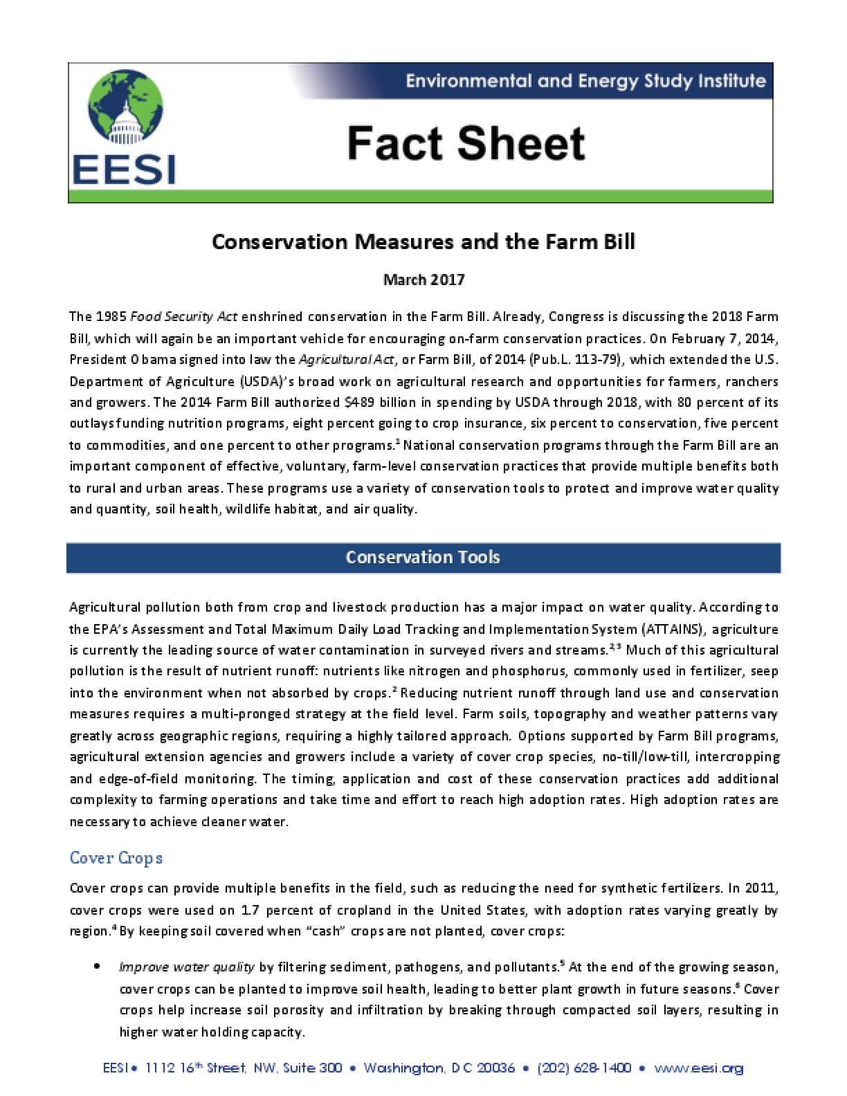 Fact Sheet: Conservation Measures and the Farm Bill - IssueLab