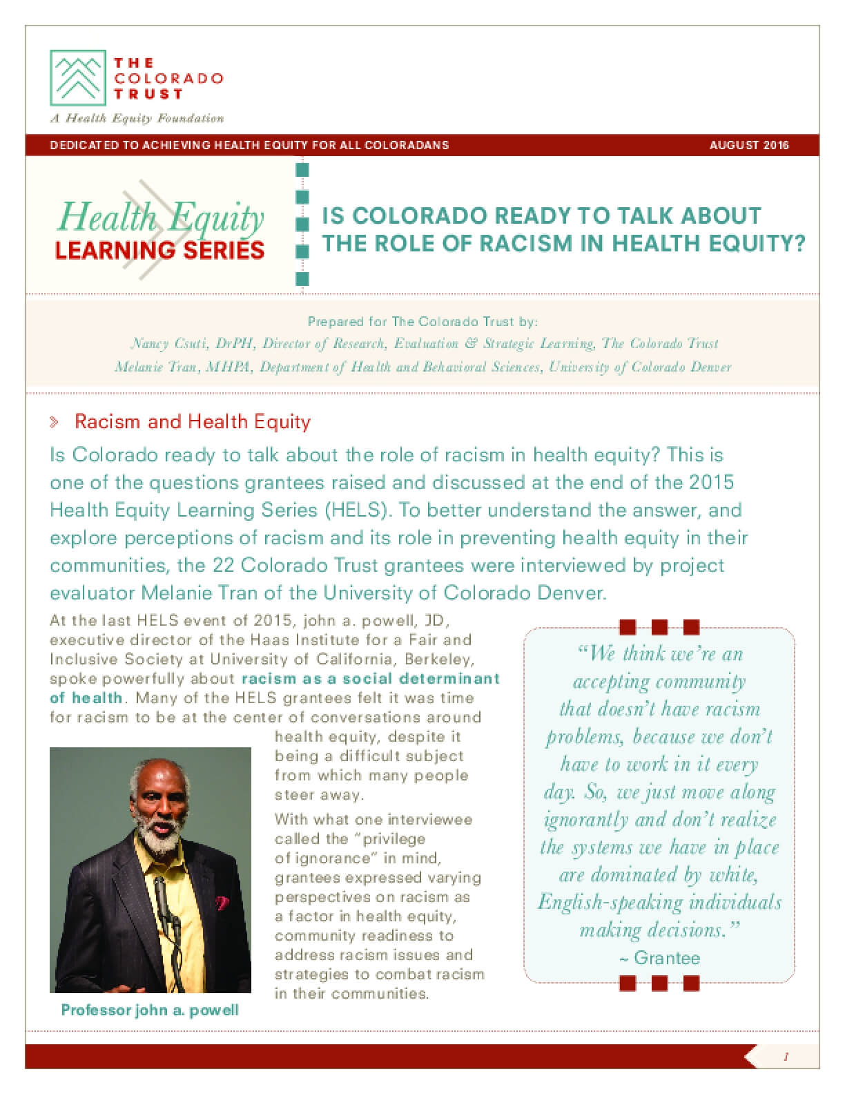Is Colorado Ready to Talk About the Role of Racism in Health Equity?