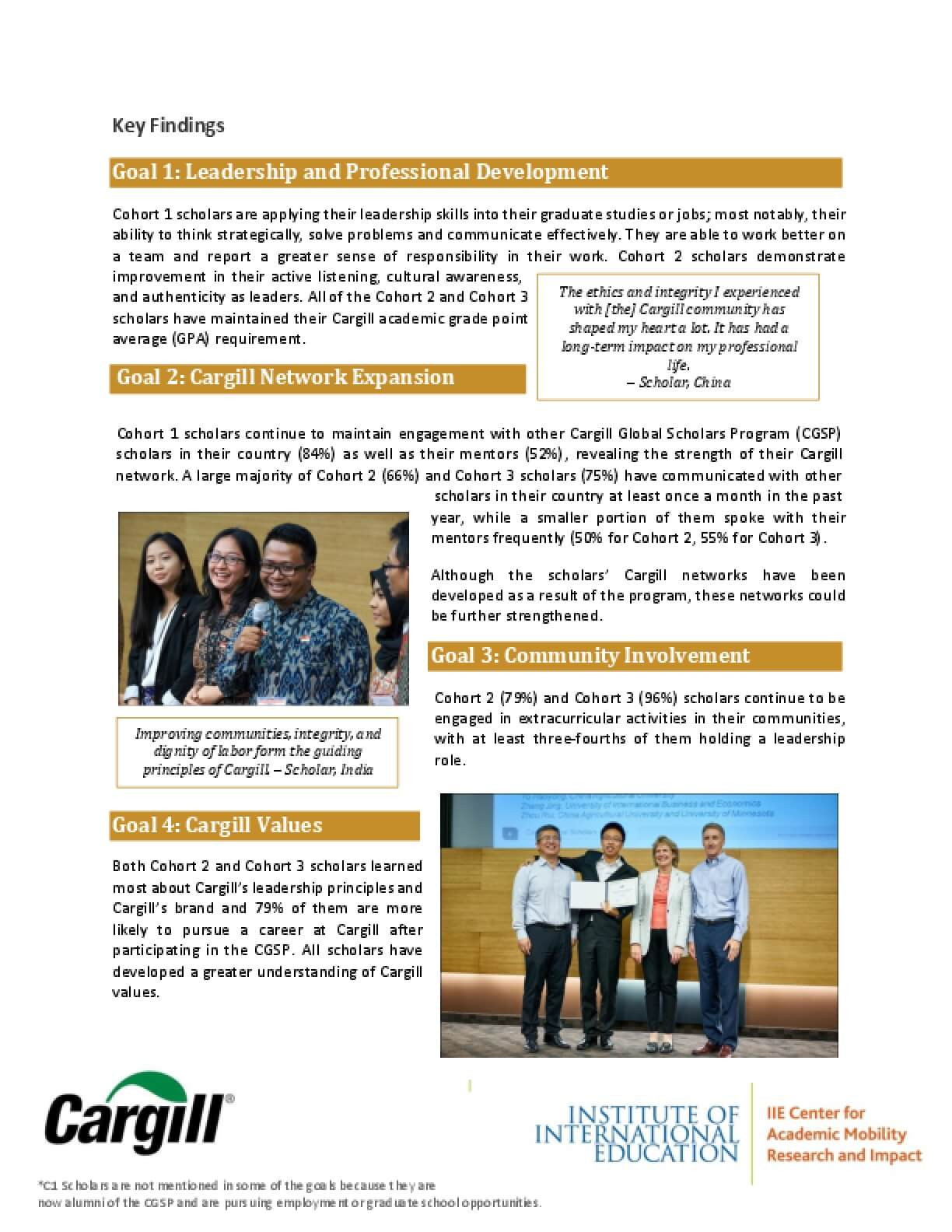 Cargill Global Scholars Program Key Findings 2016