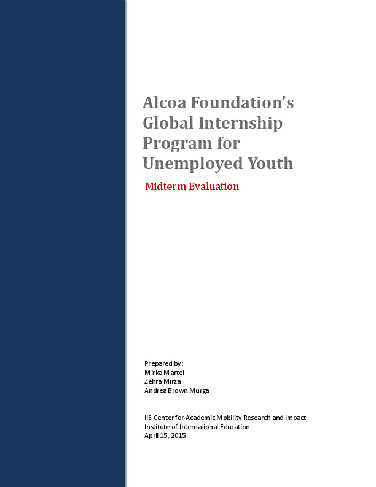 Alcoa Foundation's Global Internship Program for Unemployed Youth Midterm Evaluation