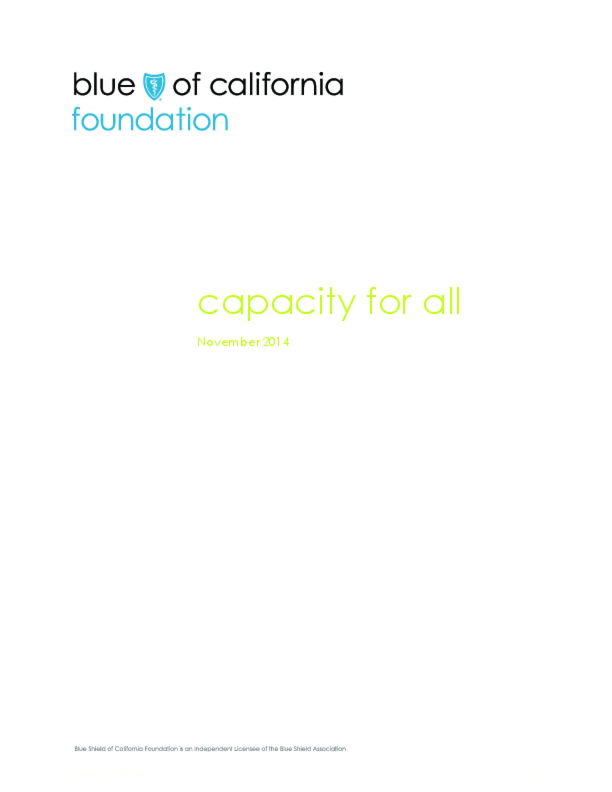 Capacity for All