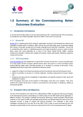 Summary of the Commissioning Better Outcomes Evaluation