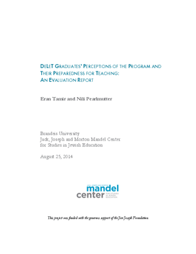 DeLeT: Graduates' Perceptions of the Program and Their Preparedness for Teaching: An Evaluation Report