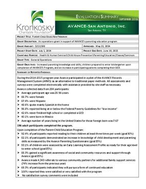 Avance-San Antonio, Inc. Evaluation Summary
