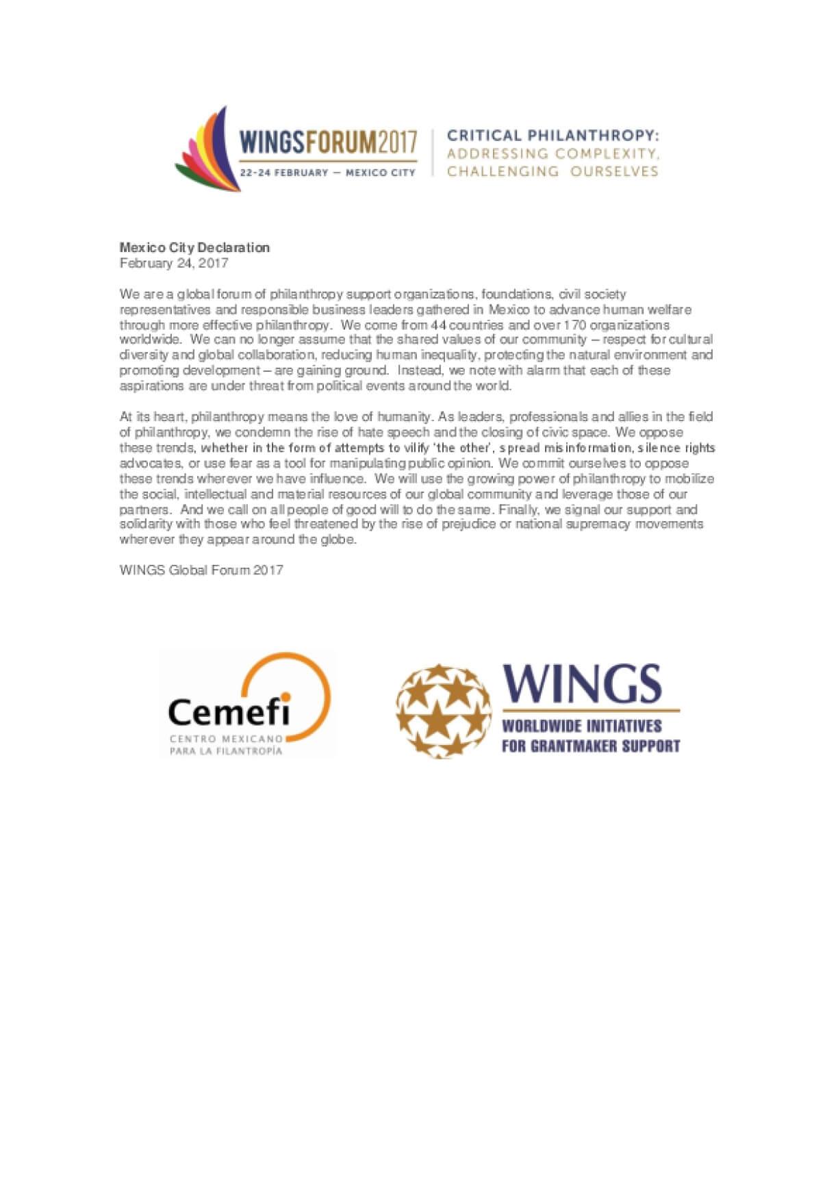 WINGSForum 2017 Mexico City Declaration