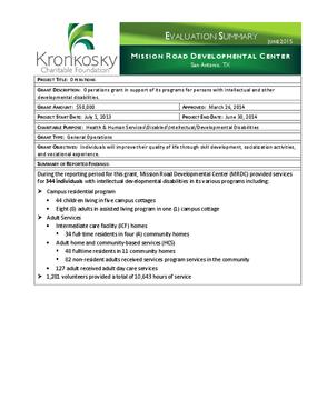 Mission Road Developmental Center Evaluation Summary