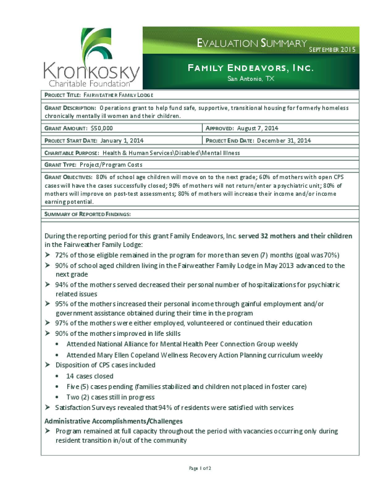 Family Endeavors, Inc. Evaluation Summary