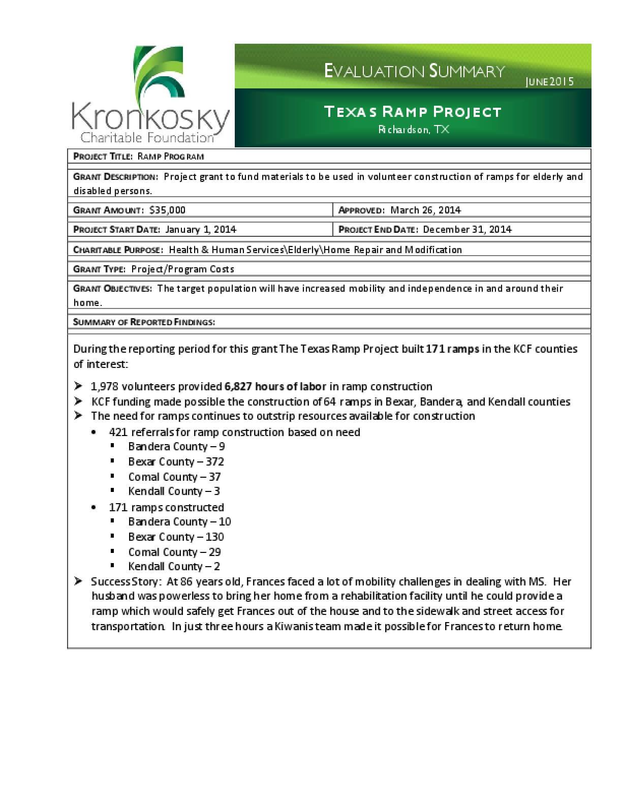 Texas Ramp Project Evaluation Summary