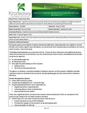 Catholic Charities, Archdiocese of San Antonio, Inc. Evaluation Summary