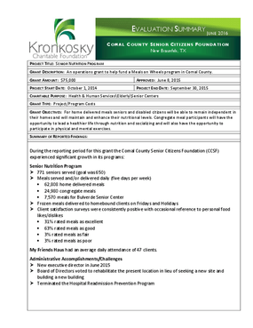 Comal County Senior Citizens Foundation Evaluation Summary