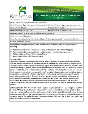 Wildlife Rescue and Rehabilitation, Inc. Evaluation Summary