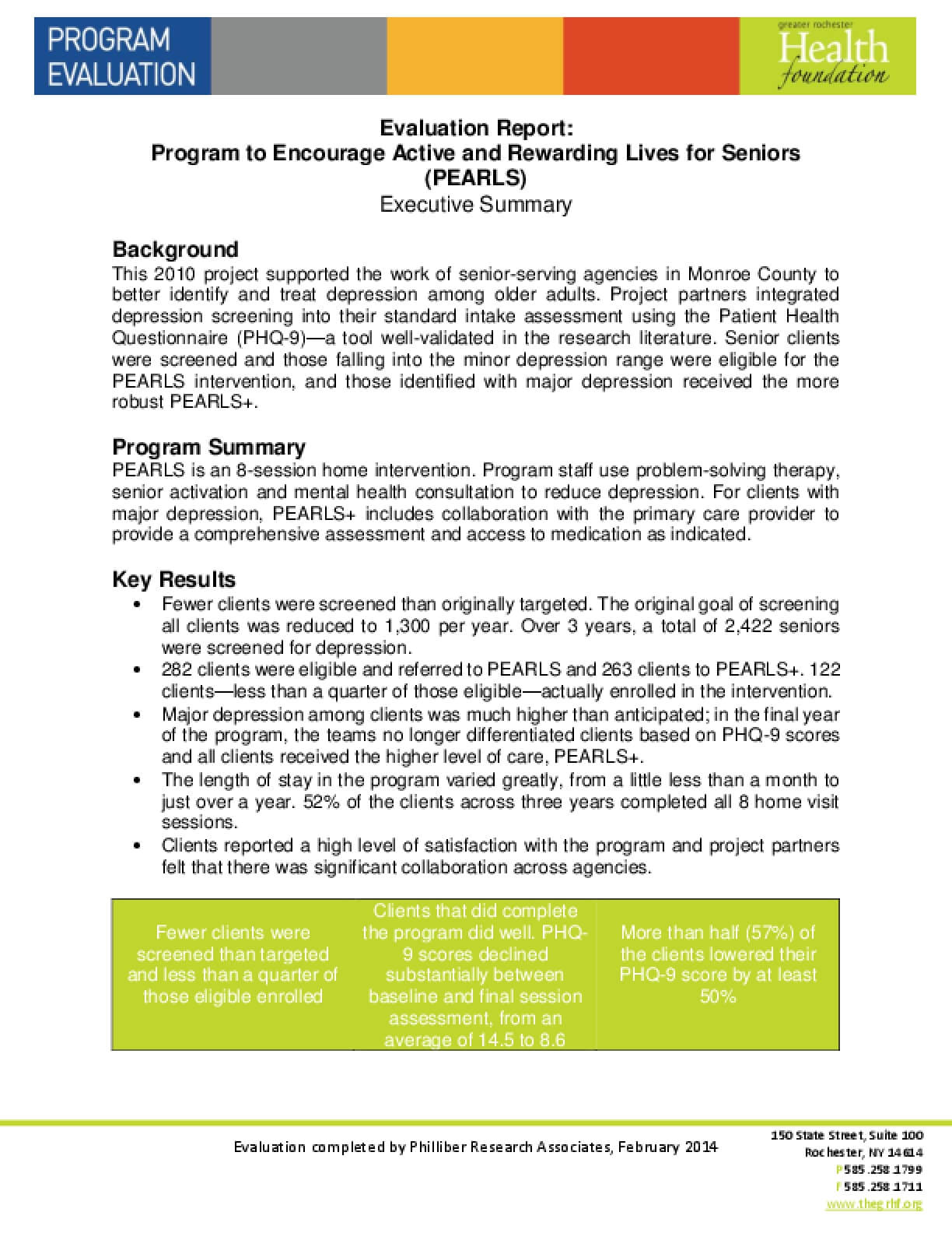 Evaluation Report: Program to Encourage Active and Rewarding Lives for Seniors (PEARLS) Executive Summary