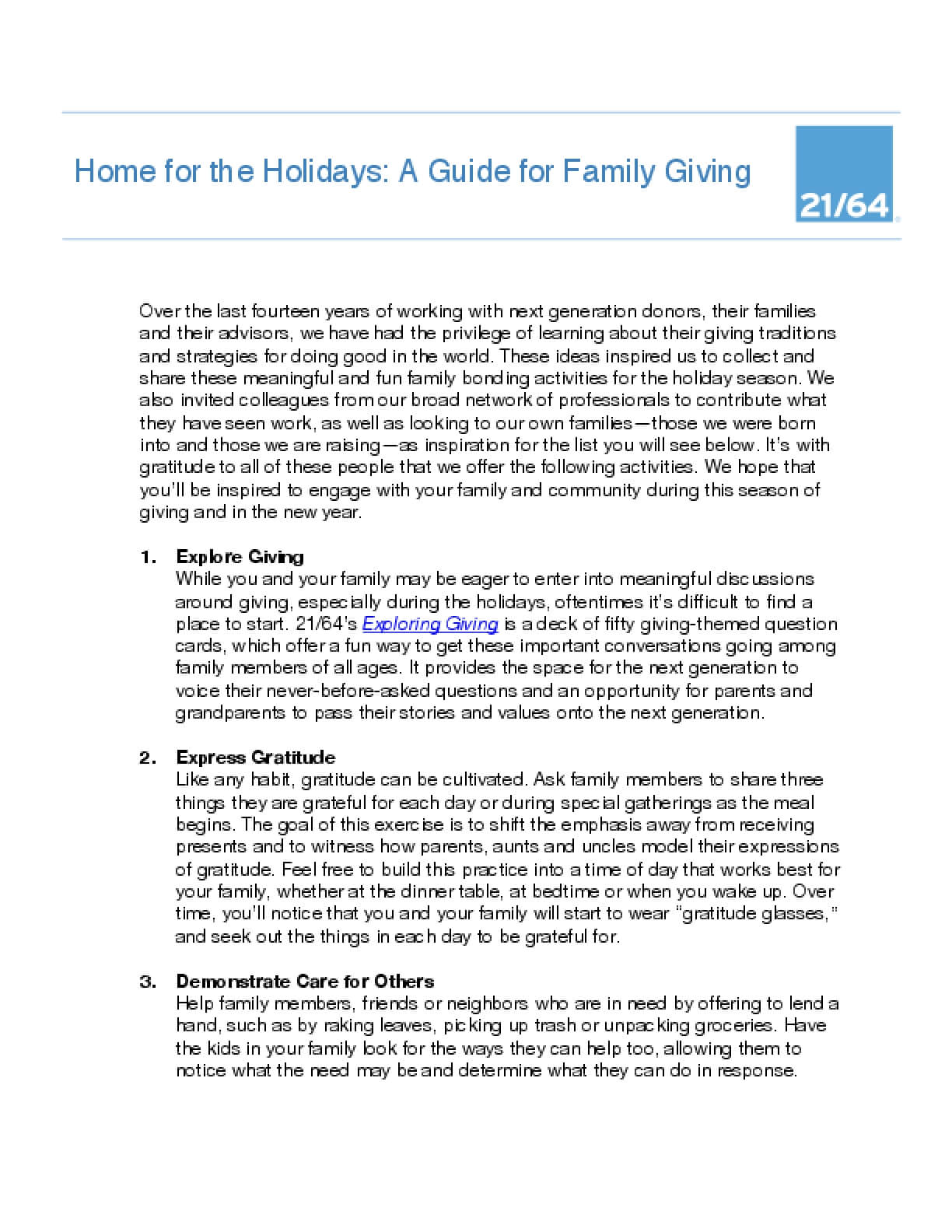 Home for the Holidays: A Guide for Family Giving