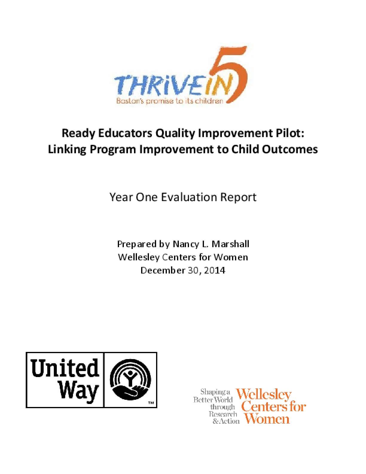 Ready Educators Quality Improvement Pilot: Linking Program Improvement to Child Outcomes