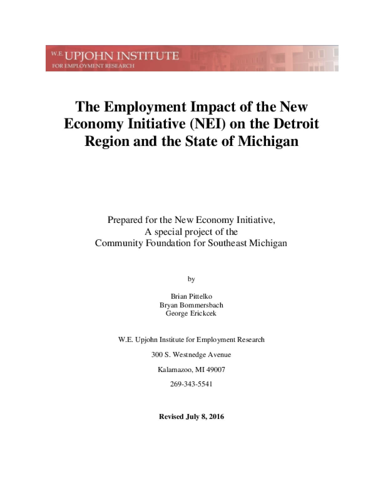 The Employment Impact of the New Economy Initiative (NEI) on the Detroit Region and the State of Michigan