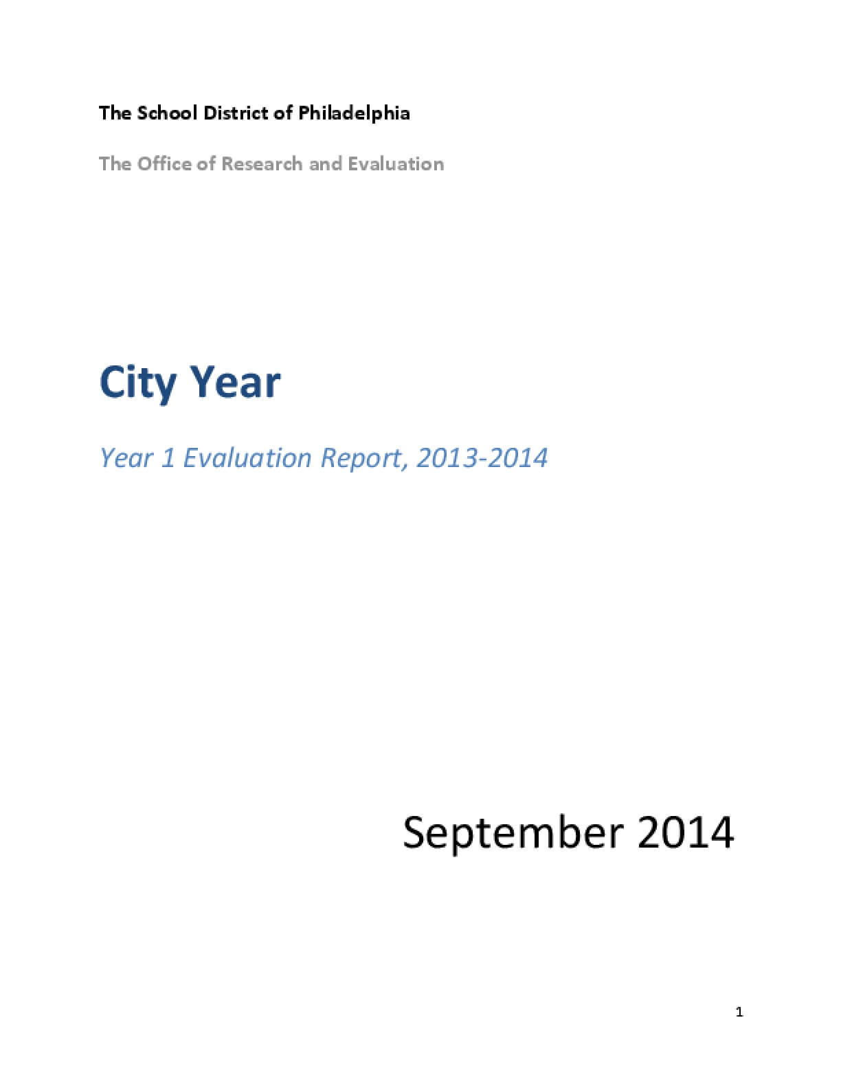 City Year: Year 1 Evaluation Report, 2013-2014