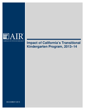 Impact of California's Transitional Kindergarten Program, 2013-14