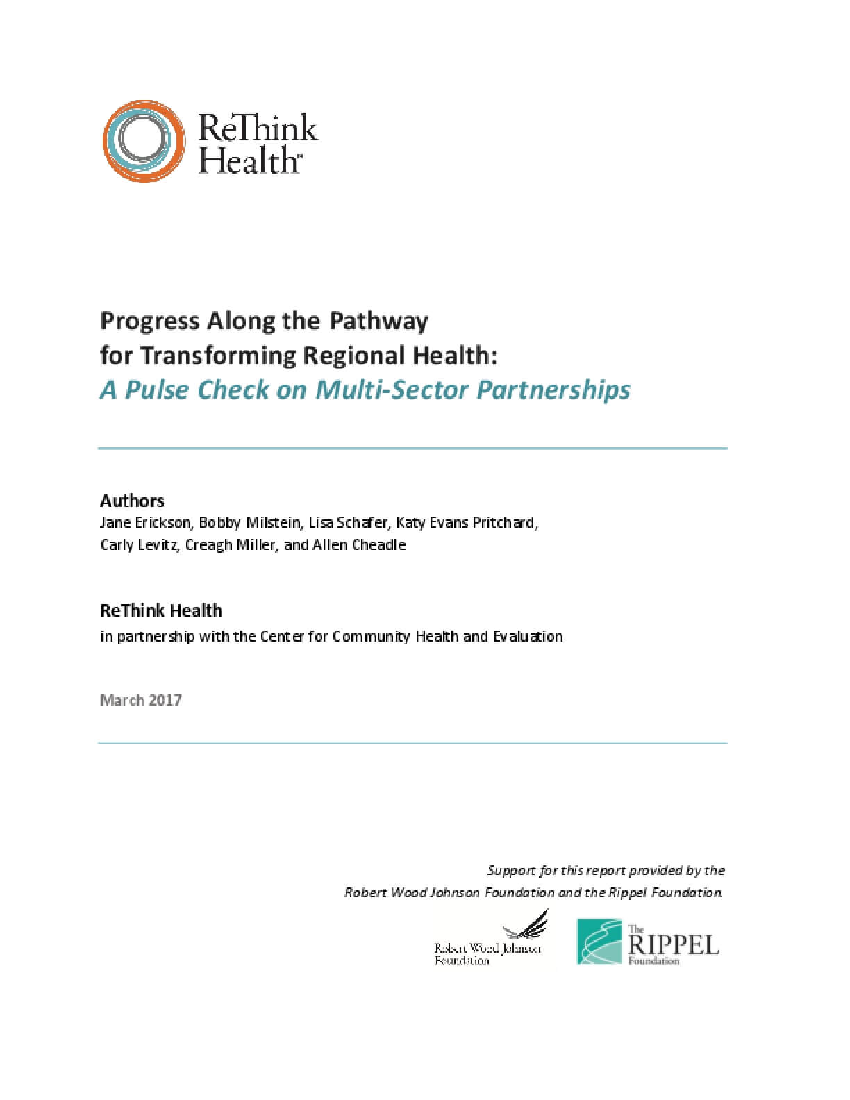 Progress Along the Pathway for Transforming Regional Health: A Pulse Check on Multi-Sector Partnerships