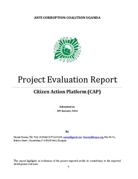 Project Evaluation Report Citizen Action Platform (CAP)