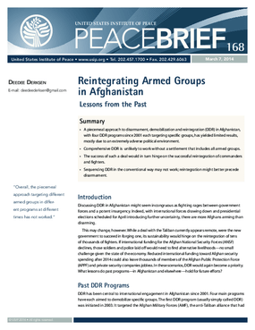 Reintegrating Armed Groups in Afganistan, Lessons From the Past