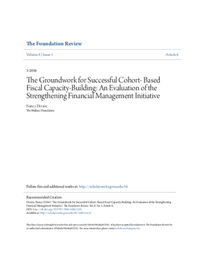 The Groundwork for Successful Cohort- Based Fiscal Capacity-Building: An Evaluation of the Strengthening Financial Management Initiative