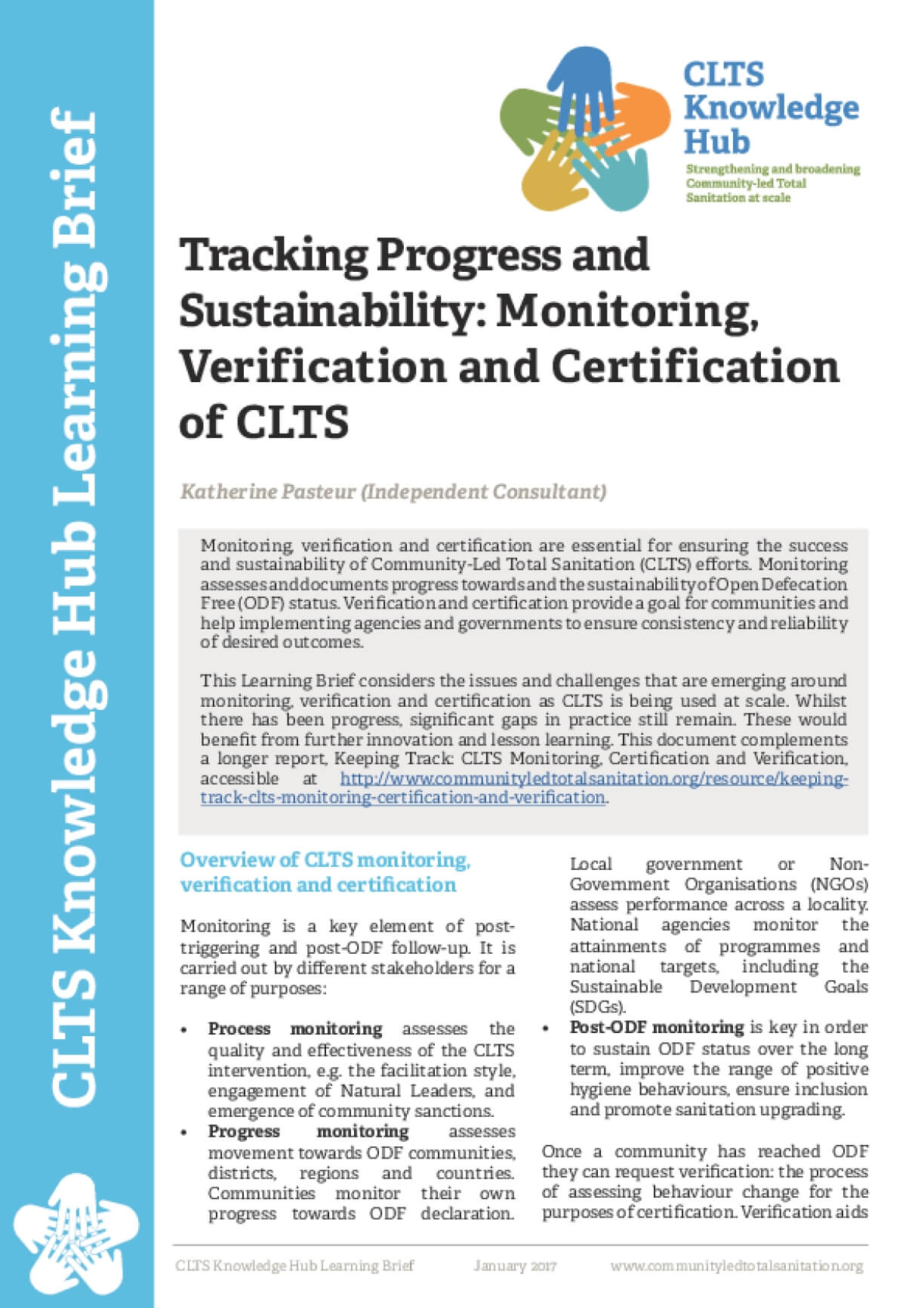 Tracking Progress and Sustainability: Monitoring, Verification and Certification of CLTS