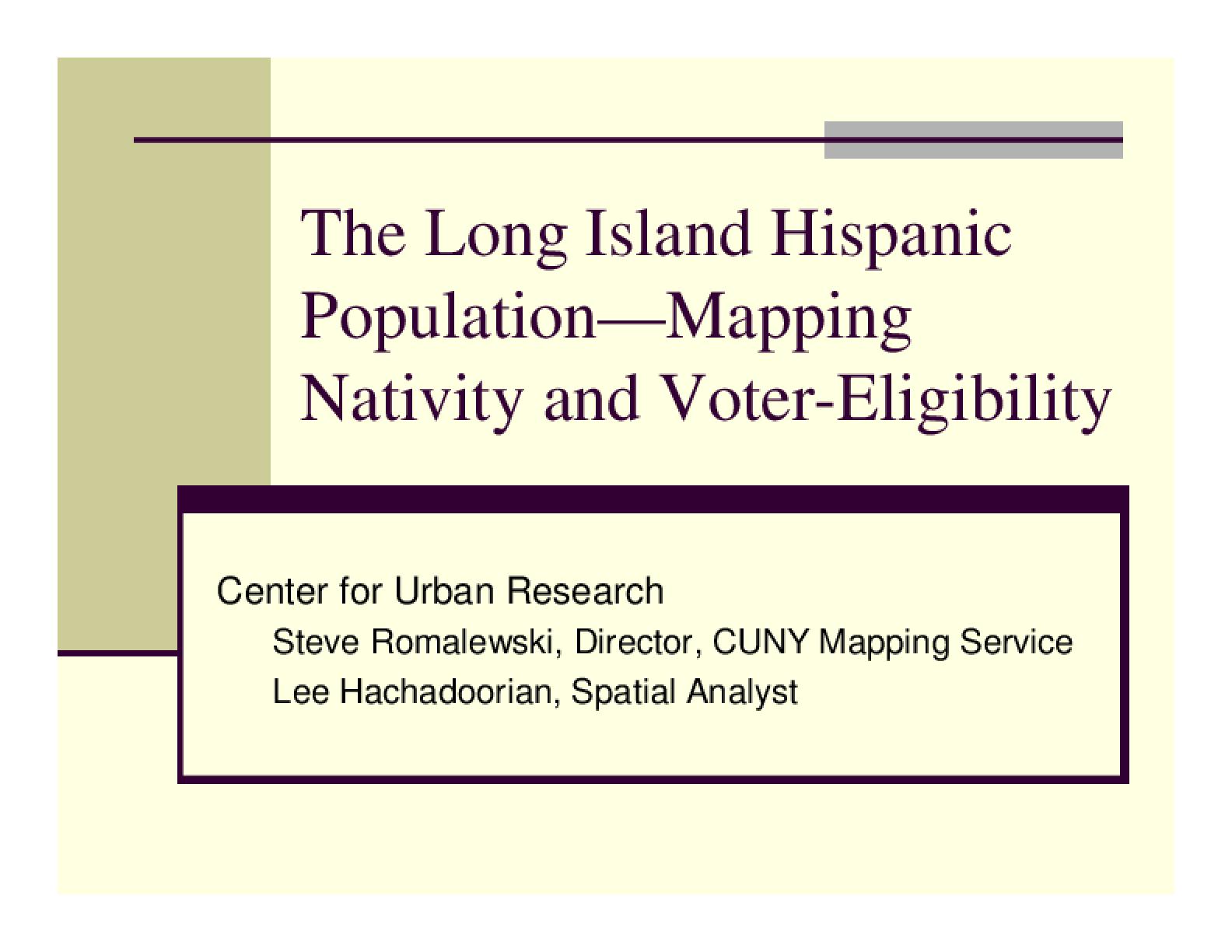 Hispanic Immigration on Long Island (Nassau and Suffolk County)