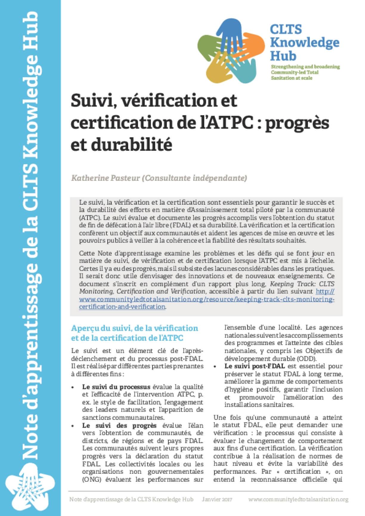 Suivi, vérification et certifcation de l'ATPC : progrès et durabilité