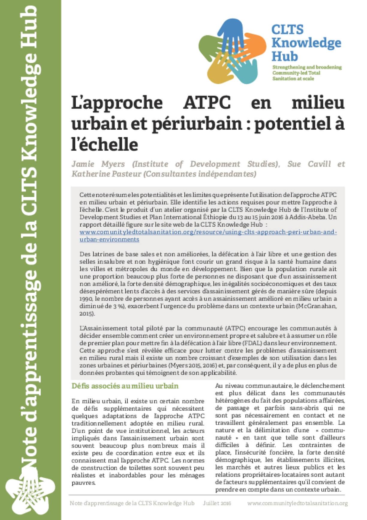 L'approche ATPC en milieu urbain et périurbain : potentiel à l'échelle