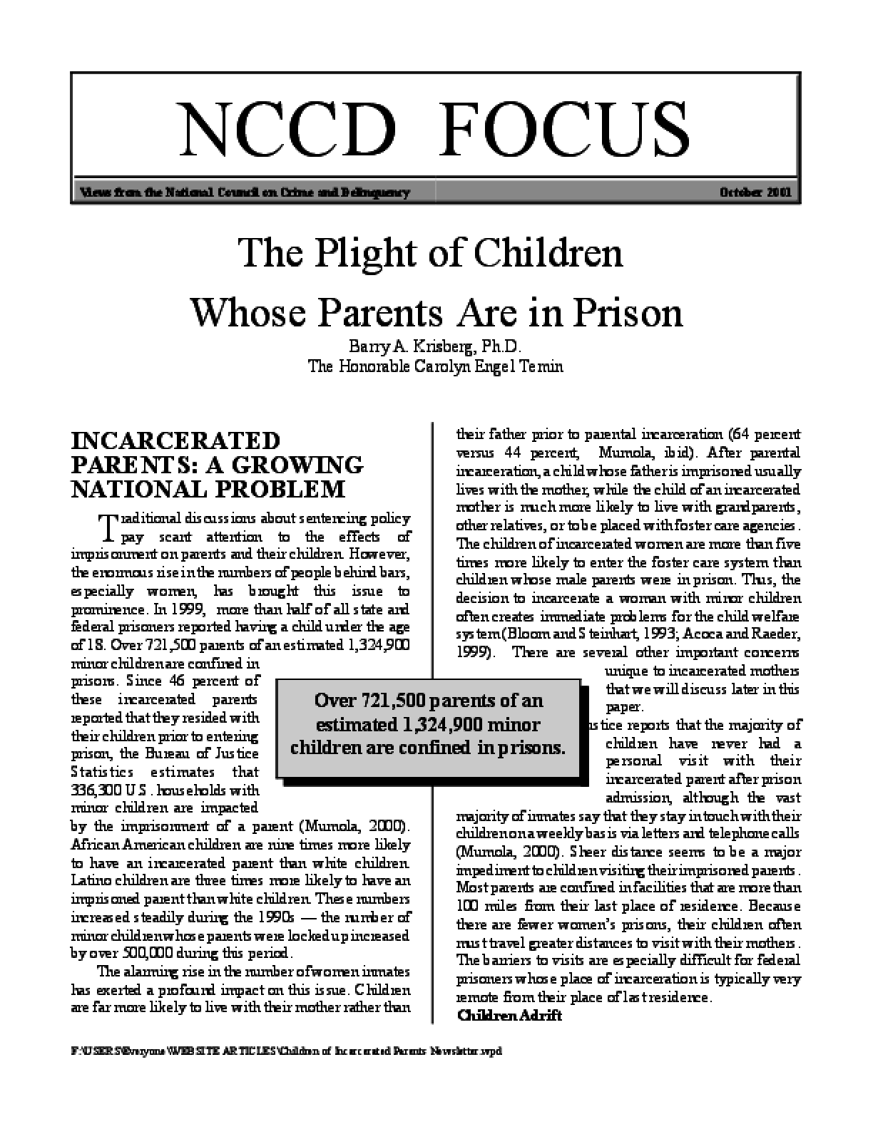 The Plight of Children whose Parents are in Prison (Focus)