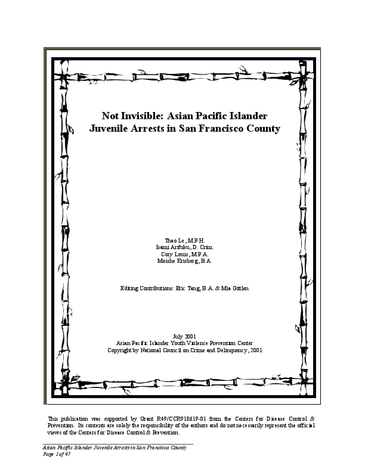 Not Invisible: Asian Pacific Islander Juvenile Arrests in San Francisco County