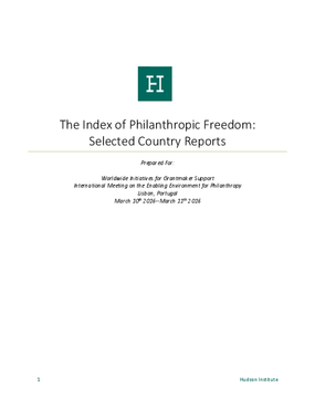 The Index of Philanthropic Freedom: Selected Country Reports