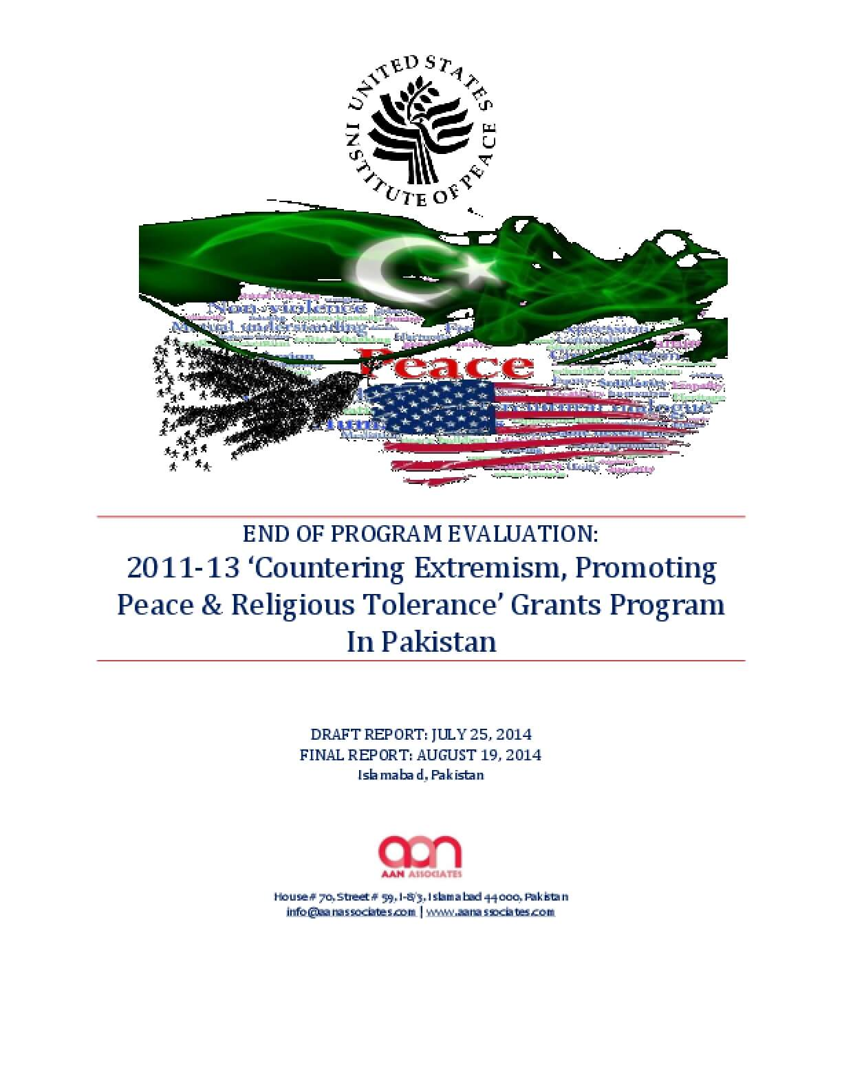End of Program Evaluation: 2011-13 'Countering Extremism, Promoting Peace & Religious Tolerance' Grants Program in Pakistan