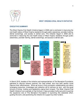 West Virginia Oral Health Initiative, Executive Summary