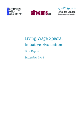 Living Wage Special Initiative Evaluation Final Report