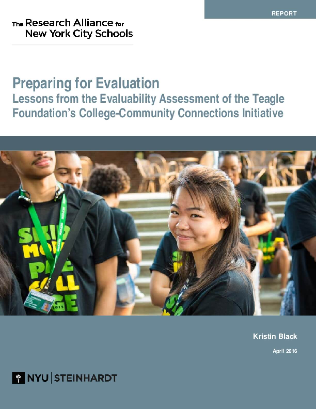 Preparing for Evaluation Lessons from the Evaluability Assessment of the Teagle Foundation's College-Community Connections Initiative